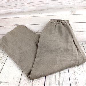 FLAX P 4-6 Linen Crop Pants Beige Tan